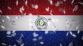 Paraguay flag falling snow loopable, New Year and Christmas background, loop. Stok Video