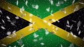 Jamaica flag falling snow loopable, New Year and Christmas background, loop.