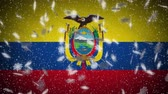 Ecuador flag falling snow loopable, New Year and Christmas background, loop.