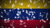 Venezuela flag falling snow loopable, New Year and Christmas background, loop.