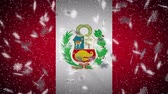 Peru flag falling snow loopable, New Year and Christmas background, loop.