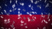 Haiti flag falling snow loopable, New Year and Christmas background, loop. Stok Video