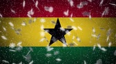 Ghana flag falling snow loopable, New Year and Christmas background, loop