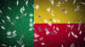 Benin flag falling snow loopable, New Year and Christmas background, loop Stok Video