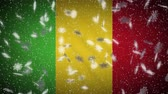 Mali flag falling snow loopable, New Year and Christmas background, loop