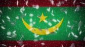Mauritania flag falling snow loopable, New Year and Christmas background, loop Stok Video