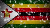 Zimbabwe flag falling snow loopable, New Year and Christmas background, loop.