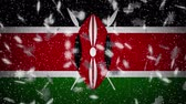Kenya flag falling snow loopable, New Year and Christmas background, loop.