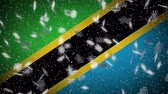Tanzania flag falling snow loopable, New Year and Christmas background, loop.