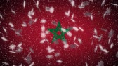 Morocco flag falling snow loopable, New Year and Christmas background, loop.