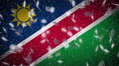 namibie : Namibia flag falling snow loopable, New Year and Christmas background, loop. Stockvideo