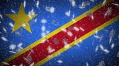 Democratic Republic of Congo flag falling snow loopable, New Year and Christmas background, loop.