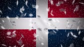 Dominican flag falling snow loopable, New Year and Christmas background, loop.