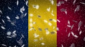 Chad flag falling snow loopable, New Year and Christmas background, loop.