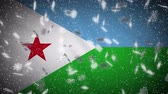 Republic Djibouti flag falling snow loopable, New Year and Christmas background, loop. Stok Video