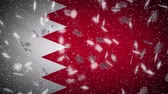 Bahrain flag falling snow loopable, New Year and Christmas background, loop.