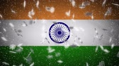 India flag falling snow loopable, New Year and Christmas background, loop. Stok Video
