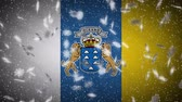 Canary Islands flag falling snow loopable, New Year and Christmas background, loop. Stok Video
