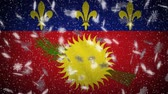 Guadeloupe flag falling snow loopable, New Year and Christmas background, loop. Stok Video