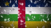 Central African Republic flag falling snow loopable, New Year and Christmas background, loop. Stok Video