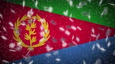 Eritrea flag falling snow loopable, New Year and Christmas background, loop.