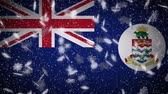 Cayman Islands flag falling snow loopable, New Year and Christmas background, loop.