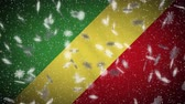 Republic of Congo flag falling snow loopable, New Year and Christmas background, loop. Stok Video