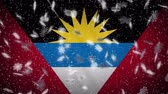 Antigua and Barbuda flag falling snow loopable, New Year and Christmas background, loop.