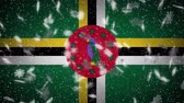 Dominica flag falling snow loopable, New Year and Christmas background, loop.