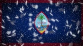 Guam flag falling snow loopable, New Year and Christmas background, loop. Stok Video