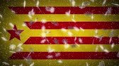 Red estelada flag falling snow loopable, New Year and Christmas background, loop. Stok Video
