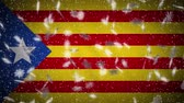 Blue estelada flag falling snow loopable, New Year and Christmas background, loop.