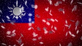 província : Taiwan flag falling snow loopable, New Year and Christmas background, loop.