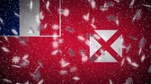 wallis : Wallis and Futuna flag falling snow loopable, New Year and Christmas background, loop.