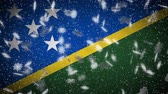 monarşi : Solomon Islands flag falling snow loopable, New Year and Christmas background, loop.
