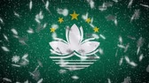 vento : Macau flag falling snow loopable, New Year and Christmas background, loop.