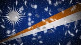 マーシャル : Marshall Islands flag falling snow loopable, New Year and Christmas background, loop.