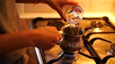 газ : Process of making coffee at home Стоковые видеозаписи