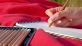 close up-hand woman draws a pencil in a notebook in nature