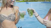 não alcoólica : Close up of sexy girls with mojito enjoying a sunny day in a pool. Slow motion.