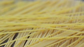 spagetti : Close up of raw uncooked spaghetti falling in slow motion, italian pasta Stok Video
