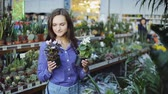 virágárus : Beautiful female customer holding and smelling flowers to buy in garden store