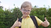 kciuk w górę : Portrait of a blond boy with glasses showing thumbs up gesture and having fun in park