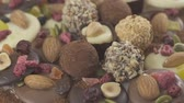 tartufo nero : Set of tasty truffle chocolates and mendiants with cocoa powder. Slow motion rotation video