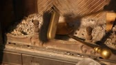 加熱 : Hand cleans fireplace with brass brush and spatula. Cleaning the fireplace. Close up of a yellow blade close up