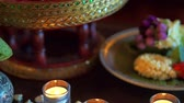 meditation : Thai spa accessories setting with candles and herbs