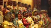 historický : Interior of Taiwanese, Chinese temple with small wooden god figures good luck and pray Dostupné videozáznamy