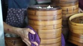 shu : Steaming Dim Sum bamboo trays in different layers traditional Chinese food