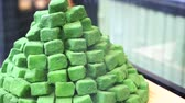 bolo : Japanese dessert , pile of green tea powdered sweets candy