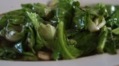 rice pan : Bok choy or Chinese broccoli green vegetable stir fry with sauce in Thai Chinese restaurant